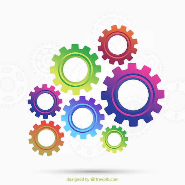 Colorful gears background Vector | Free Download