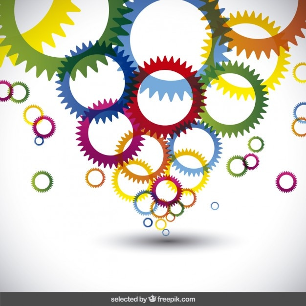 Colorful gears Free Vector