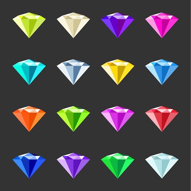 Набор красочных драгоценных камней. коллекция ювелирных кристаллов. разные драгоценные камни Premium векторы
