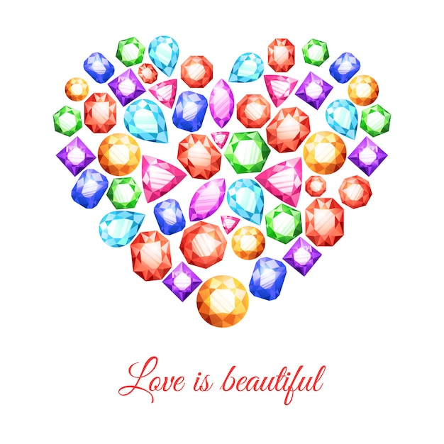 Colorful gemstones in heart shape with love is beautiful lettering Free Vector