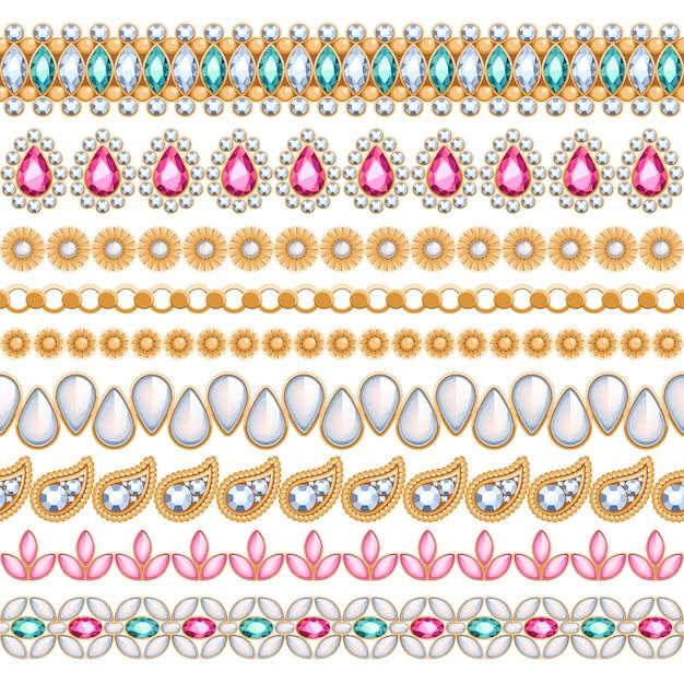 Colorful gemstones seamless horizontal borders set. ethnic indian style . chain bracelet necklace jewelry. Premium Vector