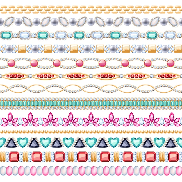 Colorful gemstones seamless horizontal borders set. ethnic indian style . chain bracelet necklace jewelry. Premium Vector