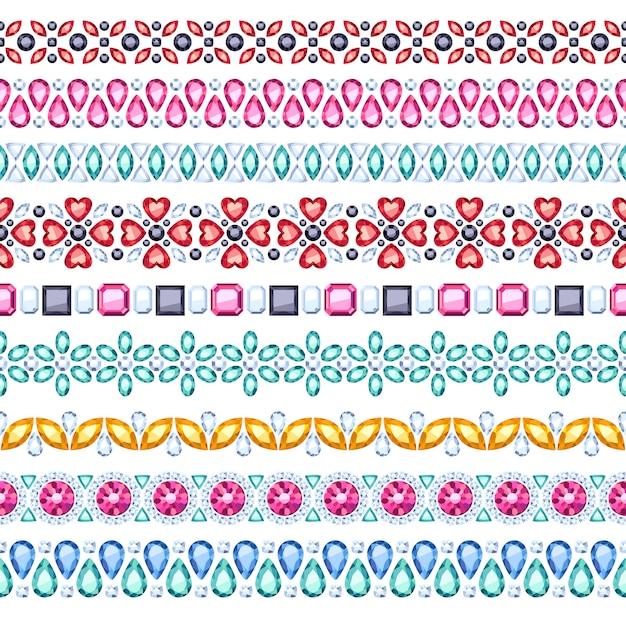 Colorful gemstones seamless horizontal borders set. ethnic style . chain bracelet necklace jewelry. Premium Vector