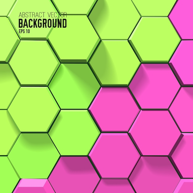 Colorful geometric background with green and pink hexagons in bright mosaic style Free Vector