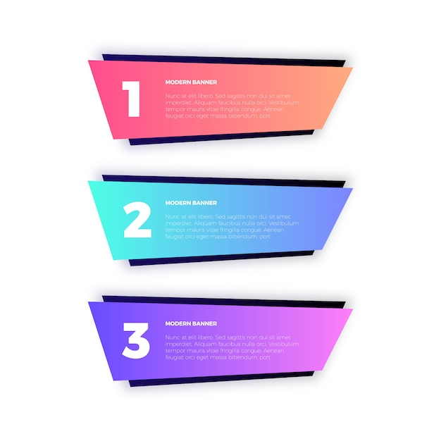 Colorful geometric banners for infographics Free Vector