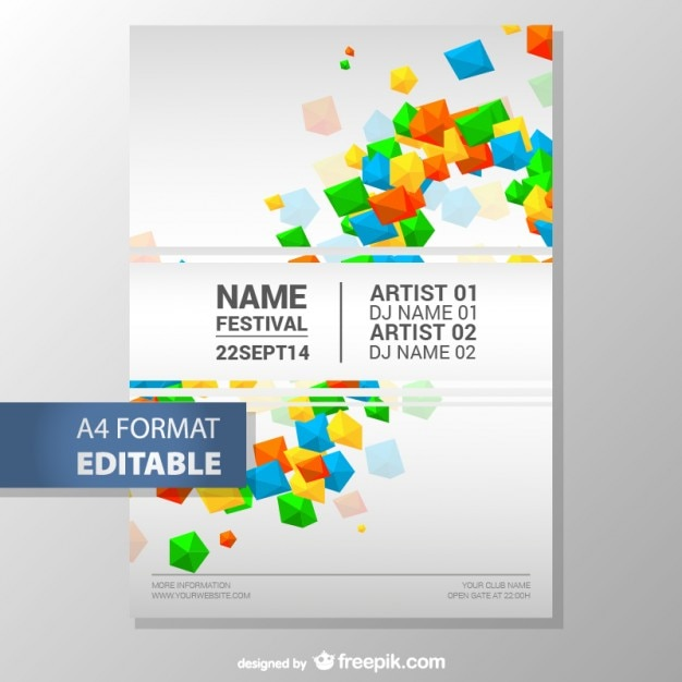 colorful geometric editable poster template free vector - Free Poster Templates