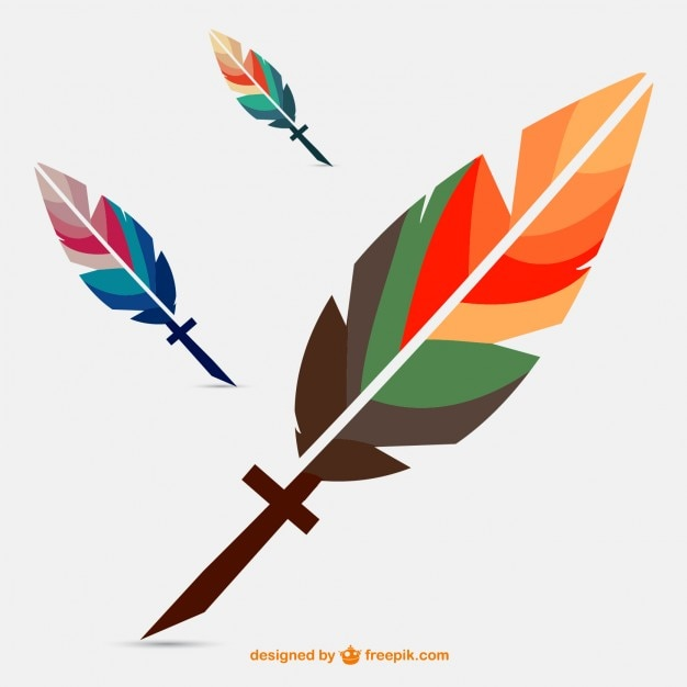 Colorful geometric feather Free Vector