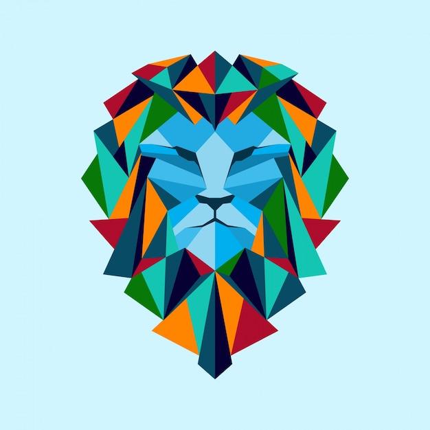 Colorful Geometric Head Lion Premium Vector