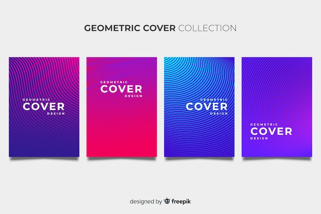 Colorful geometric lines brochure pack Free Vector