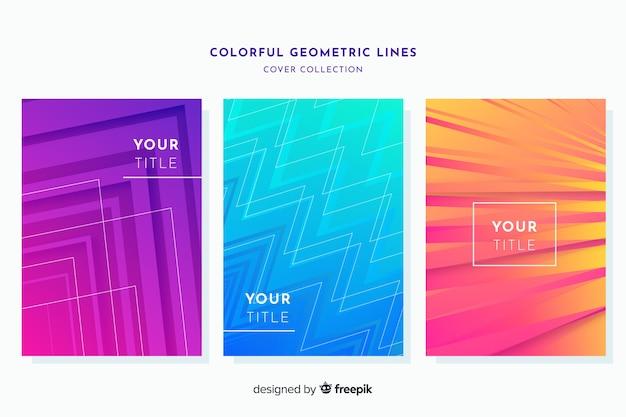 Colorful geometric lines brochure set Free Vector