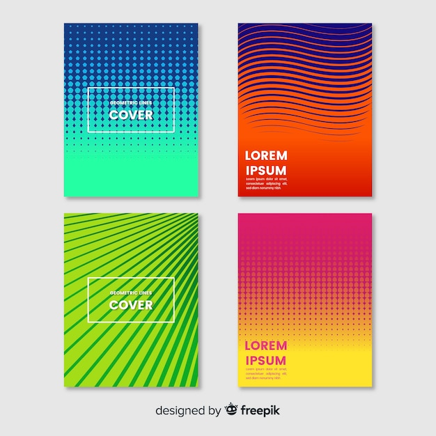 Colorful geometric lines brochure set Free Vector