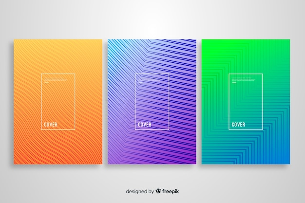 Colorful geometric lines cover collection Free Vector