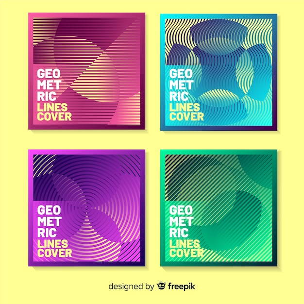Colorful geometric lines cover pack Free Vector