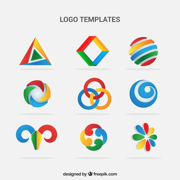 Colorful geometric logo pack Free Vector