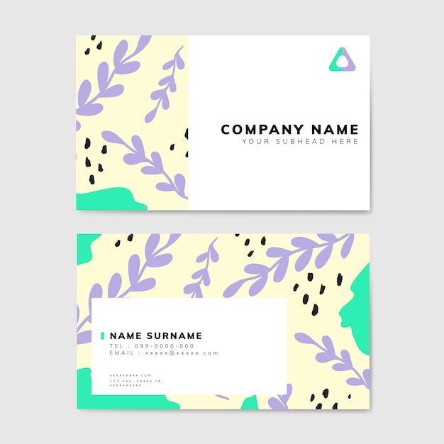 Colorful geometric memphis style business card Free Vector