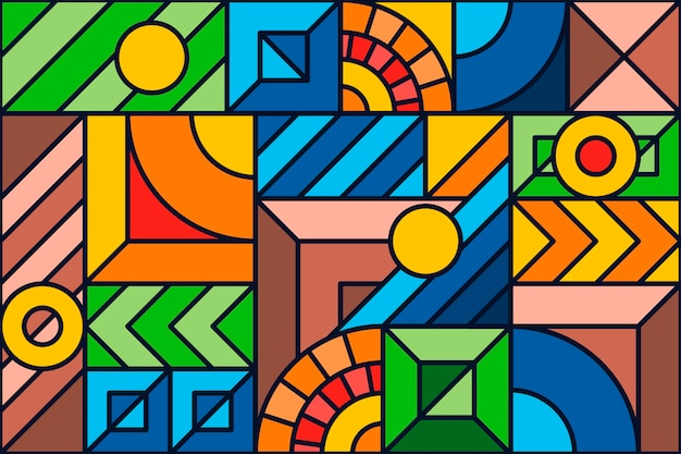 Colorful geometric mosaic background Free Vector