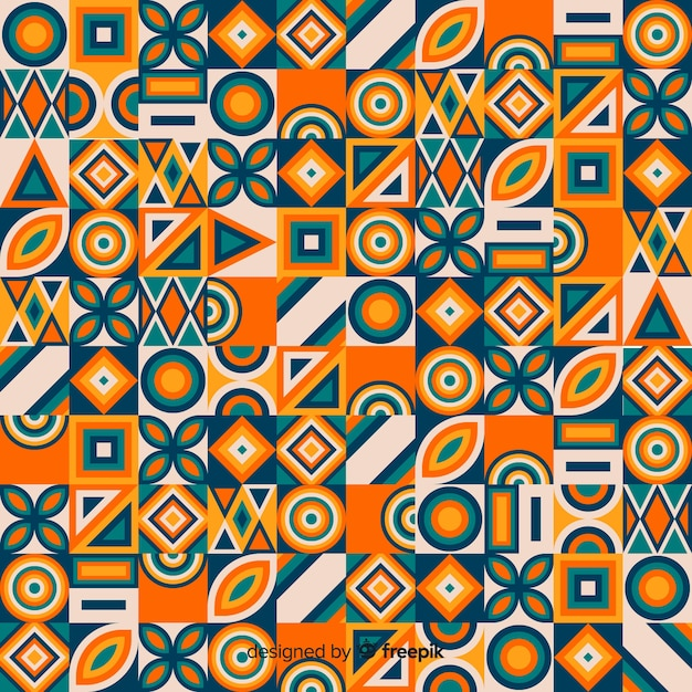 Colorful geometric mosaic tile background Free Vector