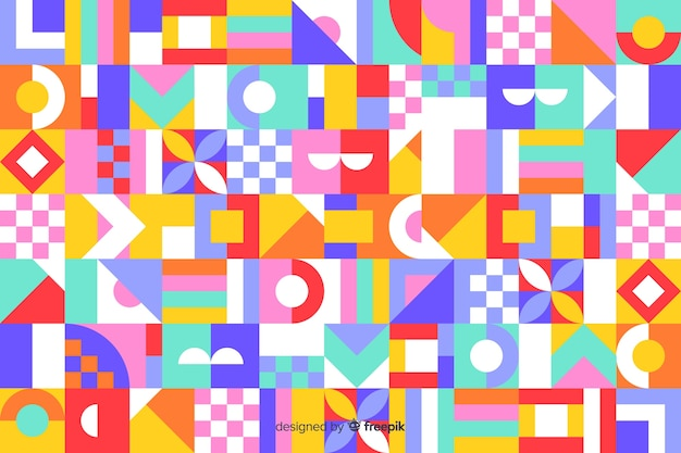 Colorful geometric mosaic tile backround Free Vector