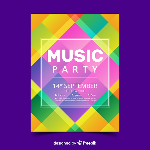 Colorful geometric music poster template Free Vector