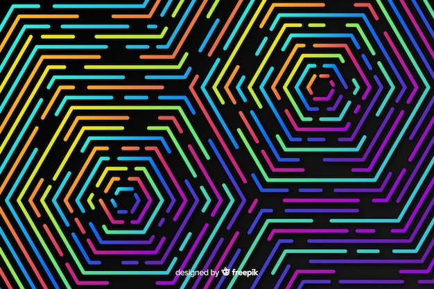 Colorful geometric neon shapes background Free Vector