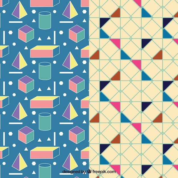 Colorful geometric pattern pack Free Vector