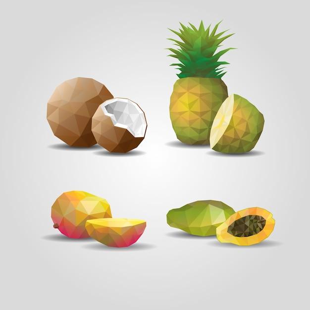 Frutti poligonali geometrici colorati con cocco ananas mango e frutto della passione su grigio Vettore gratuito