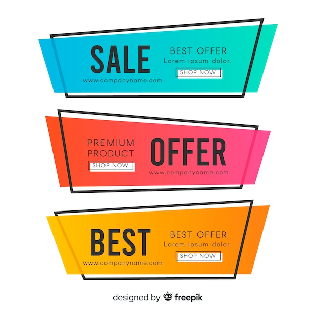 Colorful geometric sales banner Free Vector