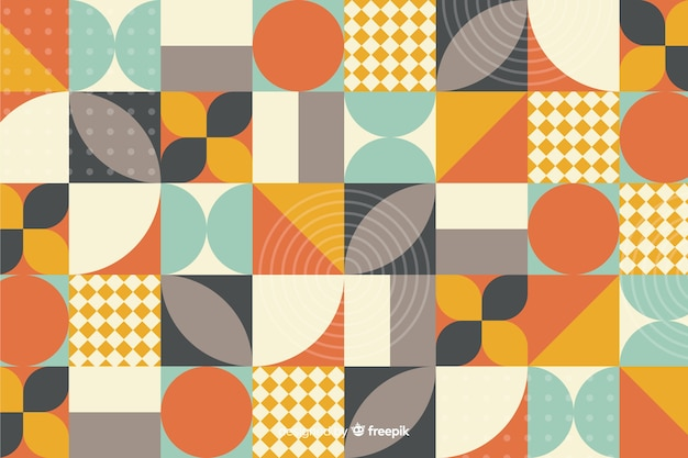 Colorful geometric shape mosaic background Free Vector