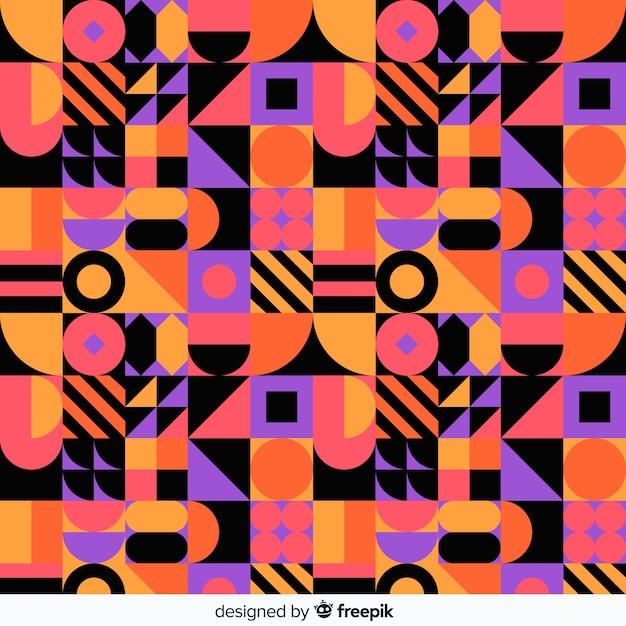Colorful geometric shape mosaic background Free Vector