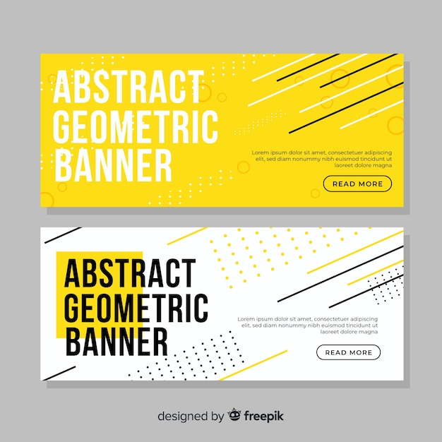 Colorful geometric shapes banner Free Vector