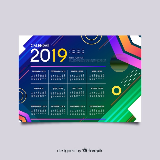 Colorful geometric shapes calendar template Free Vector