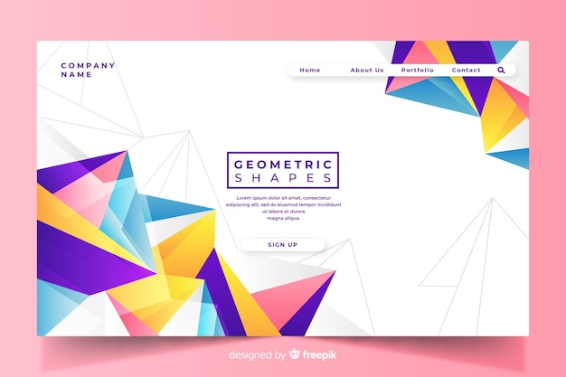 Colorful geometric shapes landing page template Free Vector