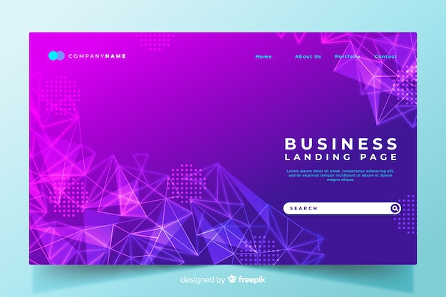 Colorful geometric shapes landing page with gradient Free Vector