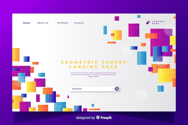 Colorful geometric shapes landing page Free Vector