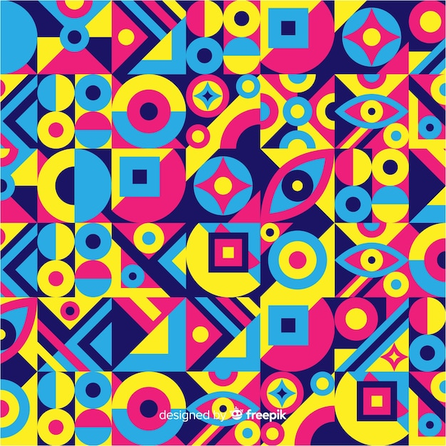 Colorful geometric shapes mosaic background Free Vector