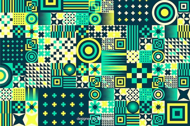 Colorful geometric shapes mosaic background Premium Vector
