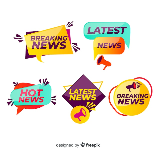 Colorful geometric shapes news banner set Free Vector