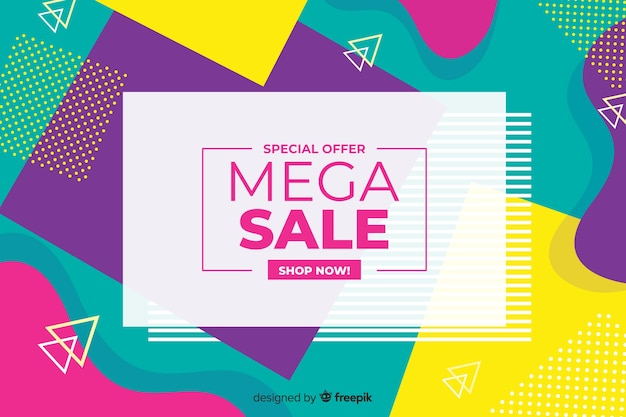 Colorful geometric shapes sales background Free Vector