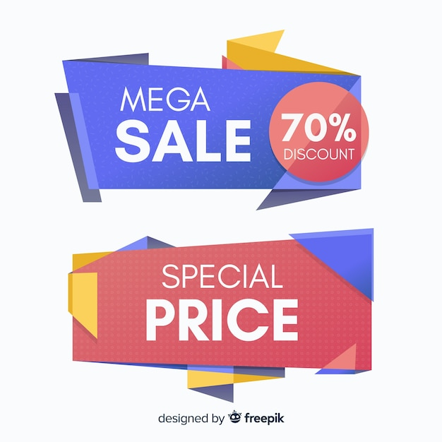 Colorful geometric shapes sales banner Free Vector