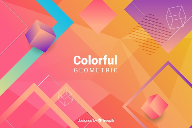 Free Colorful Geometric Wallpaper: Colorful Geometric Shapes Wallpaper Vector