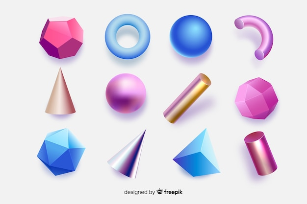 3d効果のあるカラフルな幾何学図形 無料ベクター