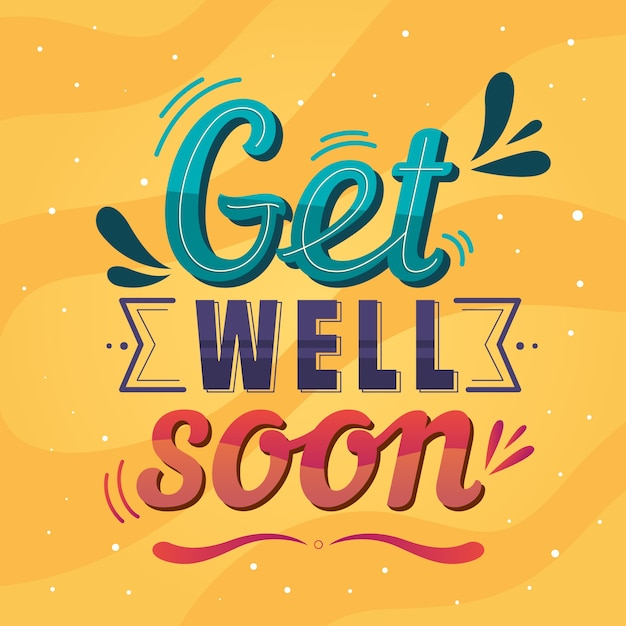 Colorful get ell soon lettering Free Vector