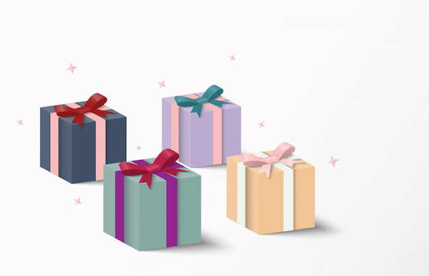 Colorful gift box packaging and shadow, vector illustration. Premium Vector