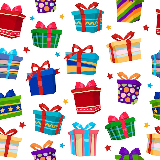 Colorful gift boxes seamless pattern Premium Vector