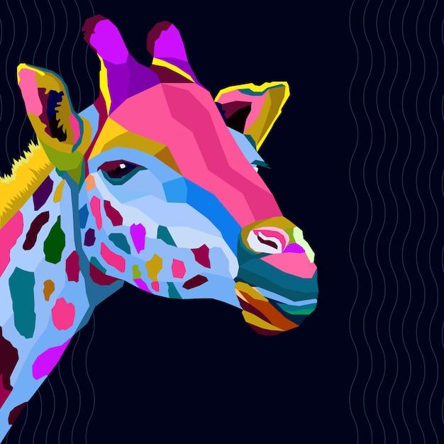 Colorful of giraffe pop art Premium Vector