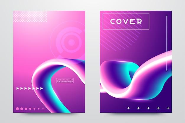 Colorful glitch poster set Premium Vector