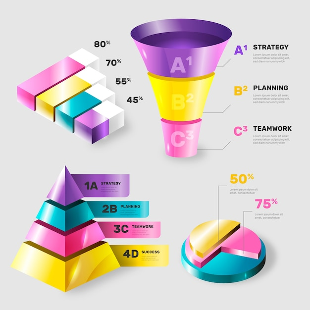 Colorful glossy infographic elements Free Vector