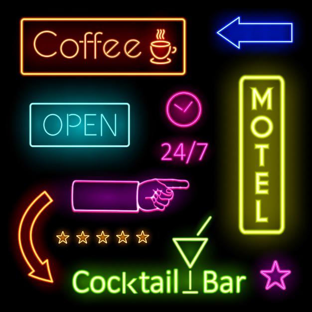 Красочные светящиеся неоновые огни графические дизайны для кафе и вывески мотелей на черном фоне. Бесплатные векторы