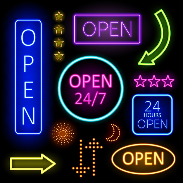 Colorful glowing neon lights of open signs for establishment n black background. Free Vector