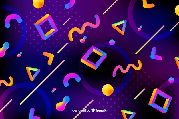 Colorful gradient 3d shapes background Free Vector
